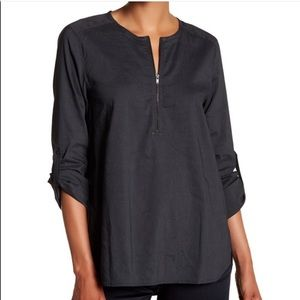 Eileen Fisher Round Neck Front Zip Tunic Top